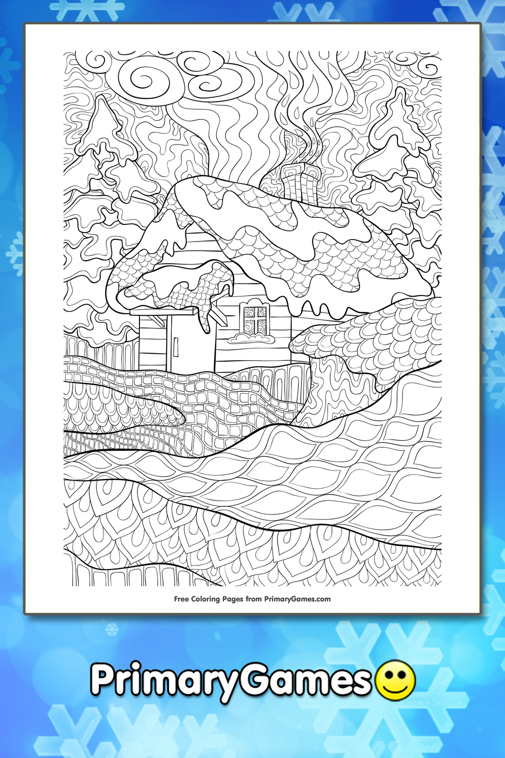 Zentangle Winter Cabin Coloring Page