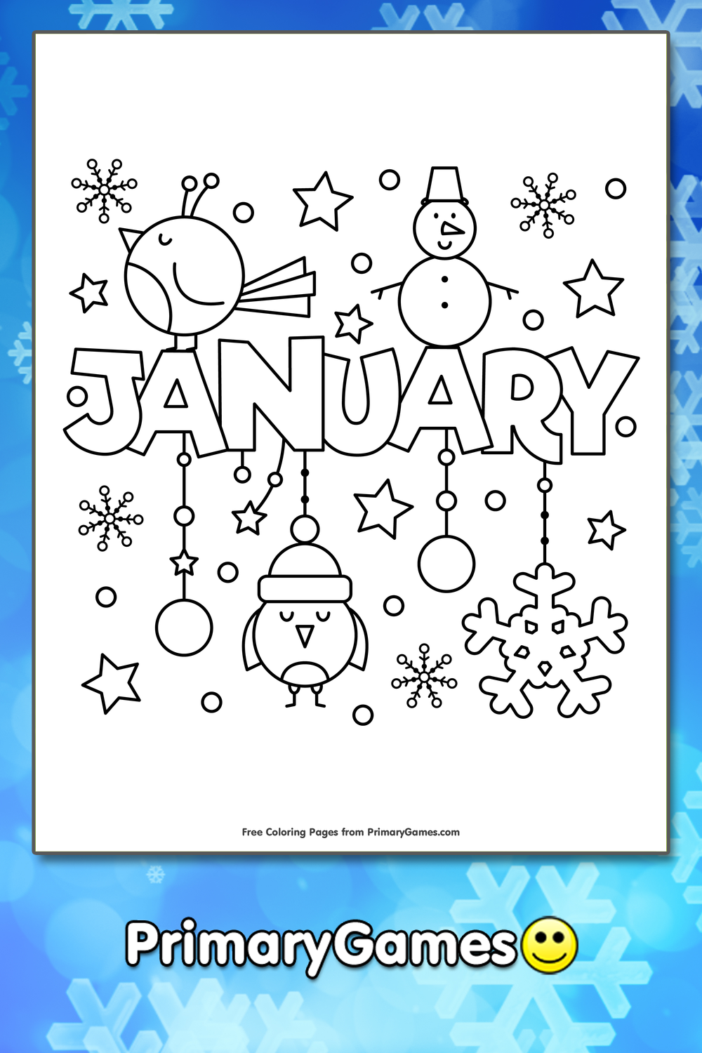 Free Printable January Coloring Pages for Kids Online | 1500x1000