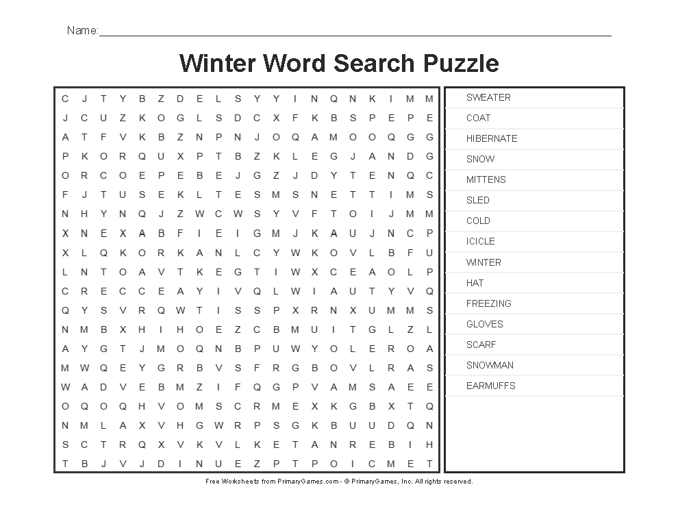 Winter Worksheets Winter Word Search Puzzle Primarygames Play